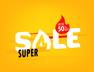Super sale offer. Shopping banner template. Up to 50 percent off