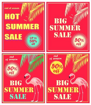 Hot red neon flyers with palm leaves, big and hot summer sale lettering and flamingo. Art deco style
