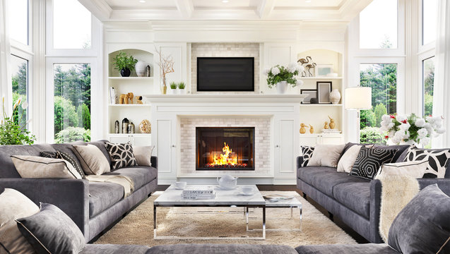 Luxurious interior design living room and fireplace in a beautiful house