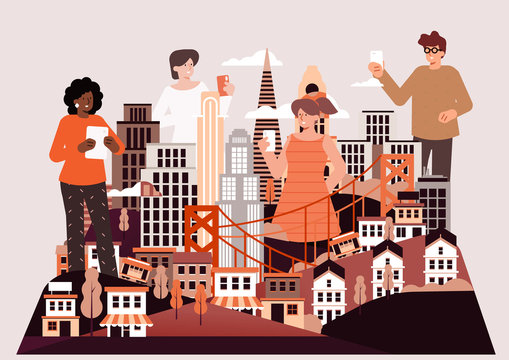 Illustration of tourists in city