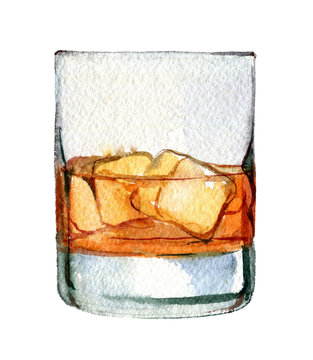 Whiskey with ice in a glass isolated on white background, watercolor illustration