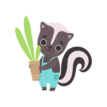Cute Little Skunk Wearing Overall Holding Flower Pot with Houseplant, Adorable Baby Animal Cartoon Character Vector Illustration