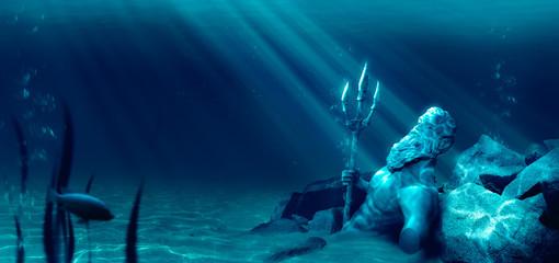 lost civilization of atlantis sunken deep in the ocean / 3D rendering Wall mural