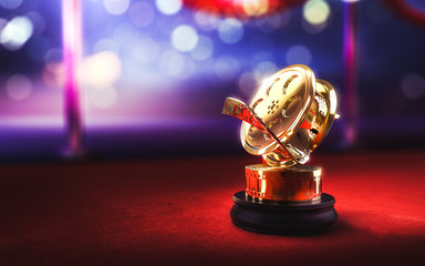 3d illustration of a movie award on a red carpet