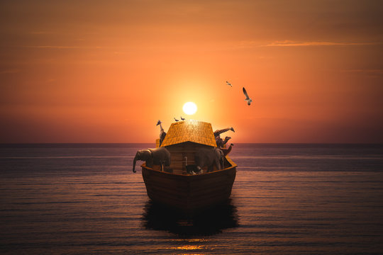 Noahs Ark on the sea