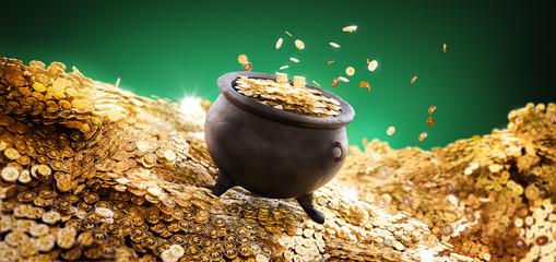 3D illustration of a cauldron on a pile of golden coins