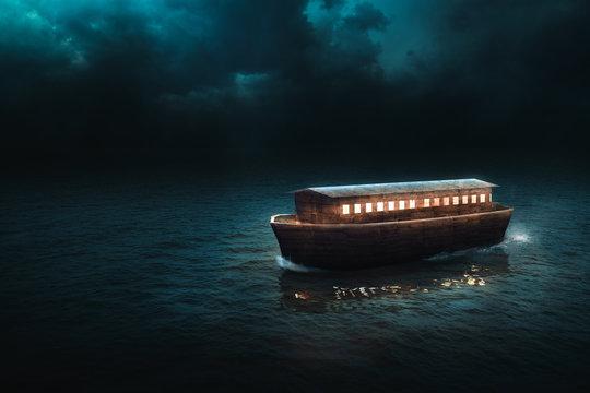 Noahs ark in a storm / 3d illustration, mixed media