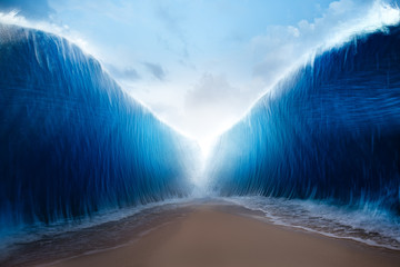 Fototapeta parting the red sea concept, photo composite