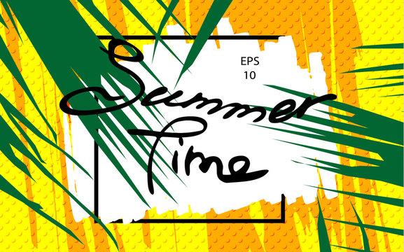 Funny pop cover. Lettering summer time on background for brochure, flyer. Minimalistic design. Creative concept. Vector illustration EPS10.