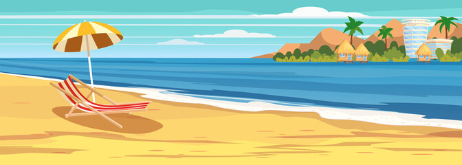 Summer seascape, beach, summer vacation, chaise lounge umbrella on the sea