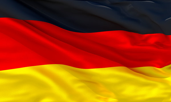Realistic silk material German waving flag, high quality detailed fabric texture. 3d illustration