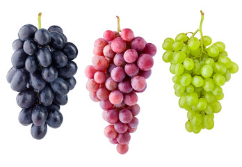purple red and green grape, isolated on white background, clipping path, full depth of field Wall mural