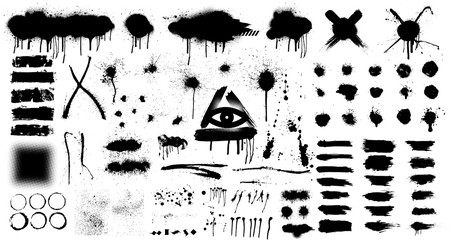Fotobehang - Very Big Collection of black paint, ink brush strokes, brushes, splashes, lines. Dirty artistic design elements. Spray graffiti stencil template. Isolated collection. Vector set