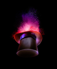 Wall Mural - high contrast image of a magician hat on a dark background