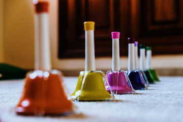 Bells of montessori musical colors to teach music to children.