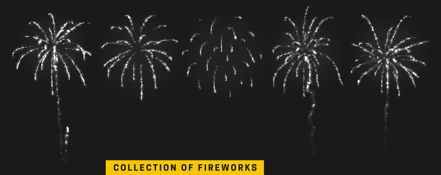 Vector white light effect. Set festive fireworks isolated on black background