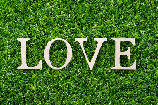 Wood letter in word love on artificial green grass background