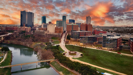 Foto op Canvas Texas Aerial Downtown Fort Worth, Texas