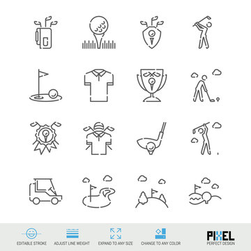 Vector Line Icon Set. Golf Related Linear Icons. Country Club Symbols, Pictograms, Signs
