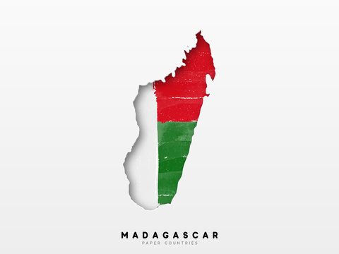 Madagascar detailed map with flag of country