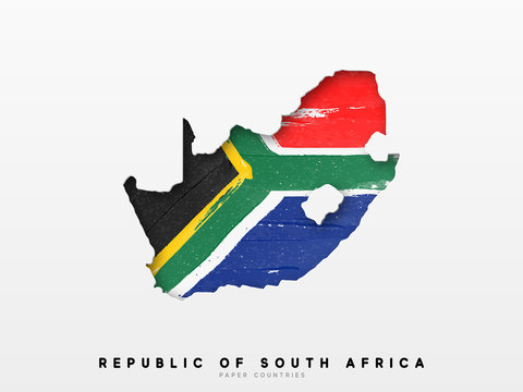 Republic of South Africa detailed map with flag of country. Painted in watercolor paint colors in the national flag