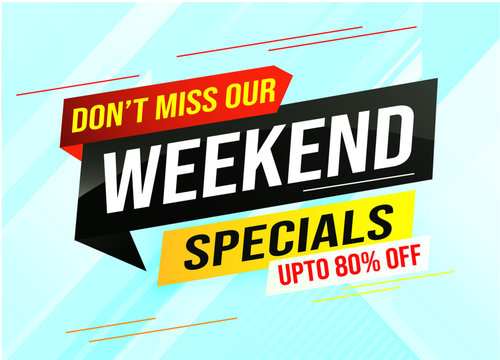 Weekend Special sale tag. Banner design template for marketing. Special offer promotion retail. background banner modern graphic design for advertising store shop, online store, website, landing page