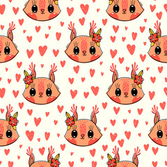 Seamless pattern with cute squirrel face with a barrettes flowers. Fashion kawaii animal background. Vector illustration