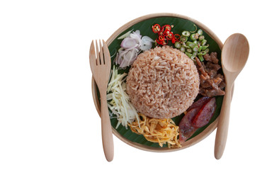 Obraz Rice mixed with shrimp paste Thai people call Kao Cluk Ka Pi isolated on white background included clipping path. - fototapety do salonu