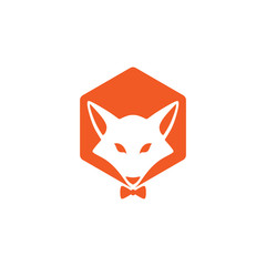 fox logo with hexagon design vector illustration