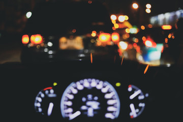 Fotomurales - traffic jam on night road, image blur light of car in the city