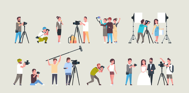 set different poses photographers and cameramans using cameras african american characters shooting video taking pictures working during session collection horizontal full length flat