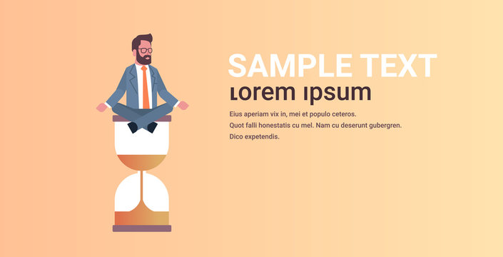 businessman sitting lotus position on sand clock time management deadline concept business man meditating in yoga pose horizontal male character full length copy space