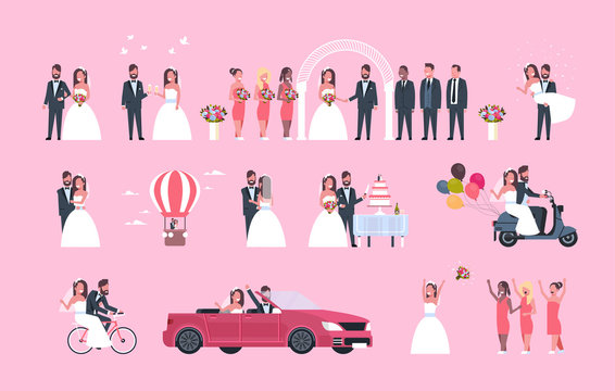 set just married man woman standing together different concepts collection romantic couple bride and groom in love wedding day celebration full length horizontal flat