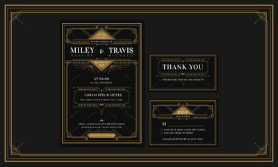 Classic Black Premium Vintage Style Art Deco Engagement / Wedding Invitation with gold color with frame. Include Thank you Tags and RSVP. Vector Illustration - Vector