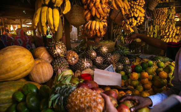 Various fruits in the local African market