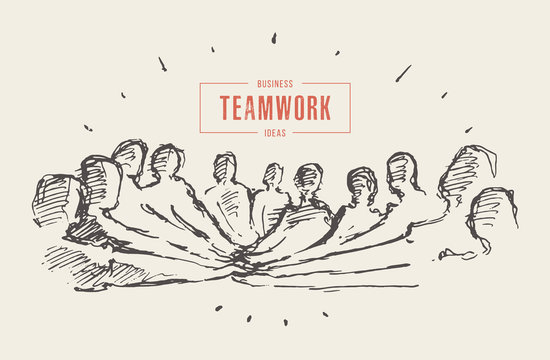 Group people hand teamwork friendship drawn vector