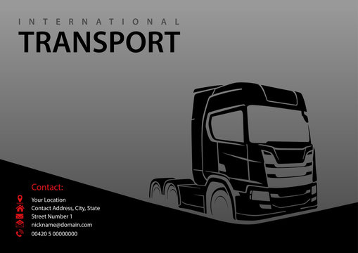 Truck Silhouette on Gray Background - Abstract Illustration for Graphic Design, Business Card, Flyer and More
