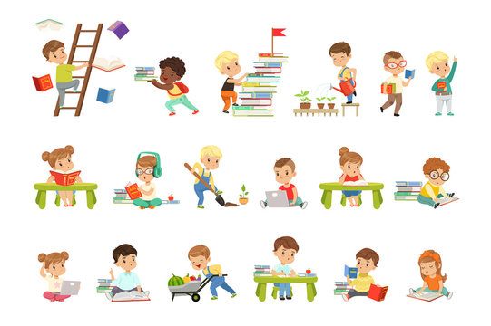 Smart little kids reading books set, cute preschool children learning and studying vector Illustrations on a white background