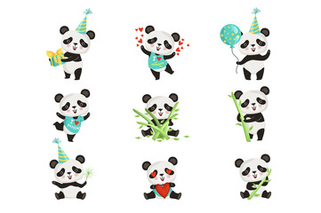 Flat vector set of funny little panda in various situations. Cartoon character of cute bamboo bear. Graphic design for children print, sticker or birthday postcard