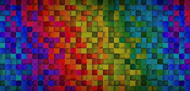 Bright colorful spectrum blocks 3D rendering