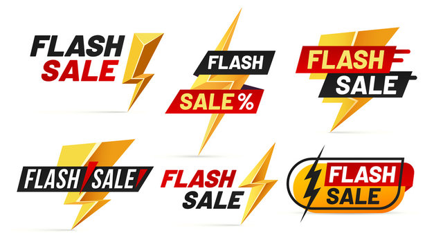 Flash sale. Mega sales lightning badges, best deal lightnings poster and buy only today offer badge vector illustration set