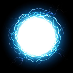 Energy sphere. Electric plasma ball, explosion lightnings and electrical power vector illustration