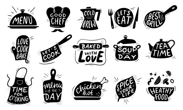 Kitchen food lettering. Gourmet cooking foods badge, chicken recipes cook and restaurant menu letterings vector illustration set