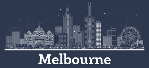 Wall Mural - Outline Melbourne Australia City Skyline with White Buildings.