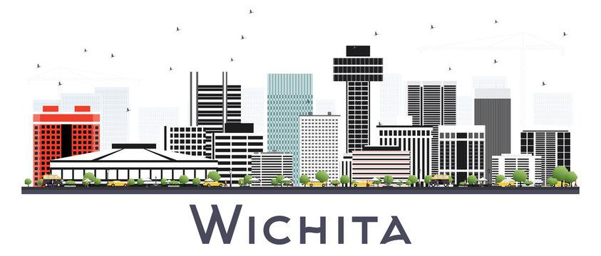 Wichita Kansas City Skyline with Gray Buildings Isolated on White.