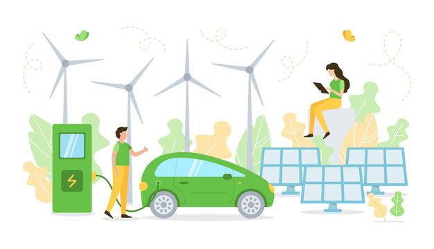 Green energy concept. Flat vector illustration.