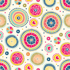 Floral seamless pattern with flowers and polka dots. Vector blooming doodle floral texture. Colorful polka dot.