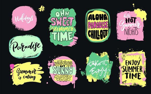 Set of universal hand drawn paint background. Summer quotes. Speech bubble. Dirty artistic design elements, boxes, frames for text, information.