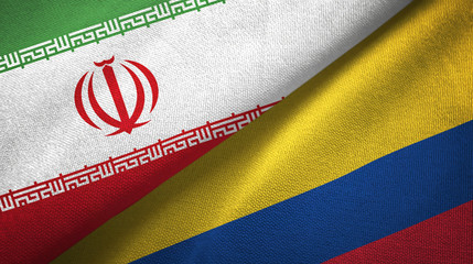 Iran and Colombia two flags textile cloth, fabric texture