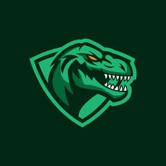 Modern professional logo for sport team. T-rex mascot. Dinosaur vector symbol on a dark background.